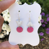 Topsy-turvy Hand enamel earrings. Pink and white enamel earrings.
