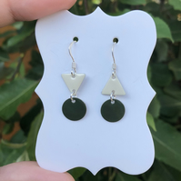 Topsy-turvy Hand enamel earrings. Green & cream enamel earrings.