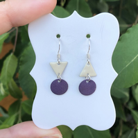 Topsy-turvy Hand enamel earrings. Purple & cream enamel earrings.