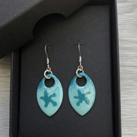 Turquoise starfish enamel scale earrings. Sterling silver.
