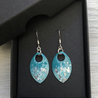 Turquoise and silver leaf enamel scale earrings. Sterling silver.
