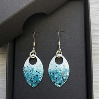 Turquoise, white and a touch of black enamel scale earrings. Sterling silver.
