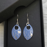 Mid blue and silver leaf enamel scale earrings. Sterling silver.