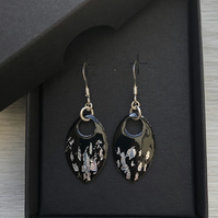 Black and silver leaf enamel scale earrings. Sterling silver.