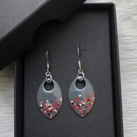 Grey and red  enamel scale earrings. Sterling silver.