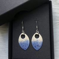 Cream & blue with a touch of glitter enamel scale earrings. Sterling silver.