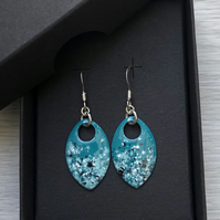 Turquoise black & white enamel scale earrings. Sterling silver.