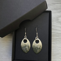 Cream, olive and a touch of glitter enamel scale earrings. Sterling silver.