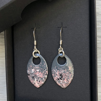 Grey, pink, white & black enamel scale earrings. Sterling silver.