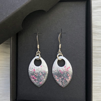White, grey, pink & black enamel scale earrings. Sterling silver.
