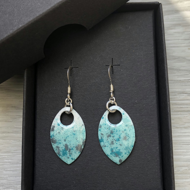 White, turquoise and touch of grey enamel scale earrings. Sterling silver.