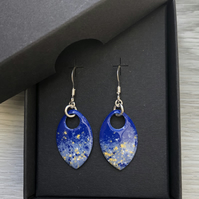 Two tone blue and touch of yellow enamel scale earrings. Sterling silver.