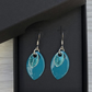 Turquoise glitter enamel scale earrings. Sterling silver.