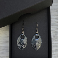 Grey & black with a touch of glitter enamel scale earrings. Sterling silver.
