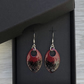 Red & black with a touch of glitter enamel scale earrings. Sterling silver.
