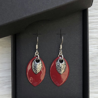 Red & mottled black enamel scale earrings. Sterling silver.