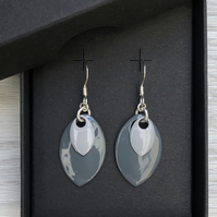 Two tone grey enamel scale earrings. Sterling silver.