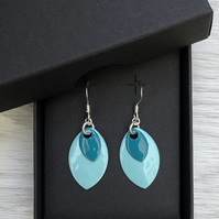 Two tone turquoise  enamel scale earrings. Sterling silver.