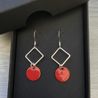 Red geometric enamel earrings