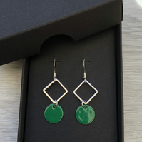 Green geometric enamel earrings