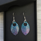 Turquoise, pink, purple and black enamel scale earrings. Sterling silver.