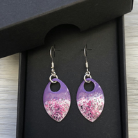 Purple & pink mix enamel scale earrings. Sterling silver.