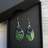 Black, green and yellow enamel scale earrings. Sterling silver.