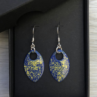 Blue and yellow enamel scale earrings. Sterling silver.