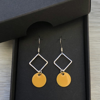 Yellow geometric enamel earrings