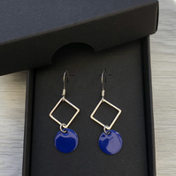 Blue geometric enamel earrings