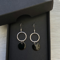 Black geometric enamel earrings