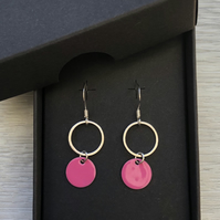 Pink geometric enamel earrings
