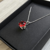 Scarlet Swarovski Crystal Sterling Silver Necklace