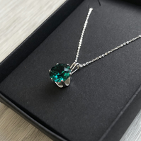 Emerald Swarovski Crystal Sterling Silver Necklace