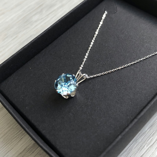 Aquamarine Swarovski Crystal Sterling Silver Necklace