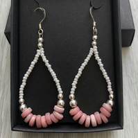 Pink and white beaded drop earrings. Sterling silver.