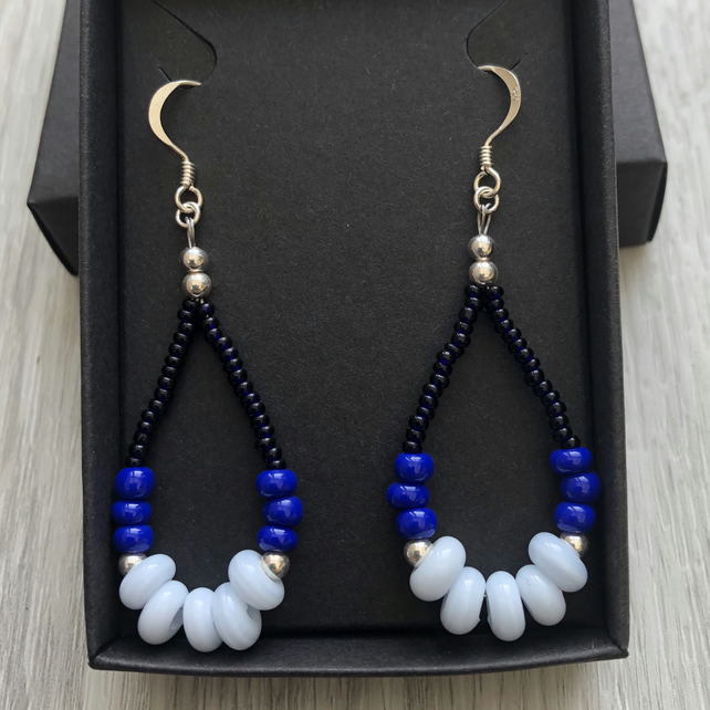 SALE.. Three tone blue beaded drop earrings. Sterling silver.