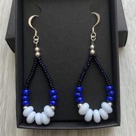 Three tone blue beaded drop earrings. Sterling silver.
