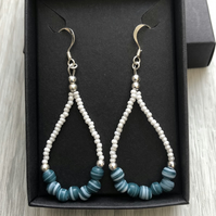 Blue and white beaded drop earrings. Sterling silver.