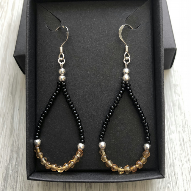 SALE.. Citrine and black beaded drop earrings. Sterling silver.