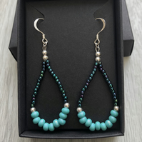 Turquoise beaded drop earrings. Sterling silver.