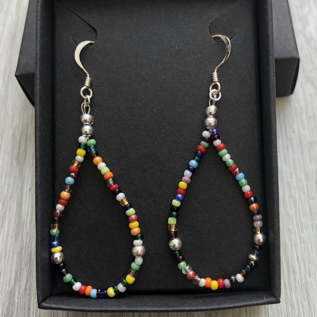 Rainbow mix beaded drop earrings. Sterling silver.