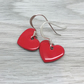 Strawberry red enamel heart charm, sterling silver earrings