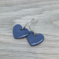 Mid blue enamel heart charm, sterling silver earrings
