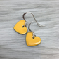 Mustard yellow enamel heart charm, sterling silver earrings