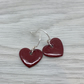 Dark red enamel heart charm, sterling silver earrings