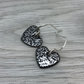 Mottled black enamel heart charm, sterling silver earrings