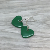 Spring green enamel heart charm, sterling silver earrings