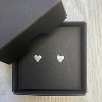 Light grey enamel heart studs. Sterling silver studs.