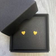 Yellow enamel heart studs. Sterling silver studs.